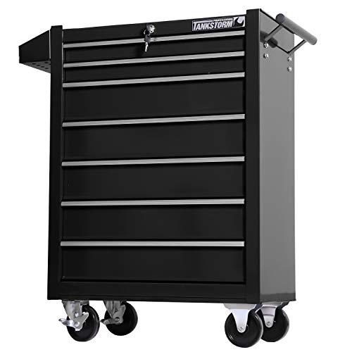 TANKSTORM Tool Chest Heavy Duty Cart Steel Rolling Tool Box 7 Drawer Cart (TZ37-BK)