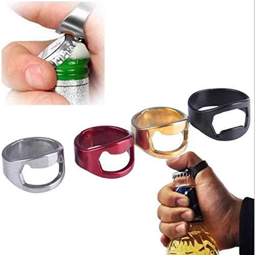 Juego de 4 abrebotellas en forma de anillo, acero inoxidable, creativo, resistente, ideal para abrir botellas