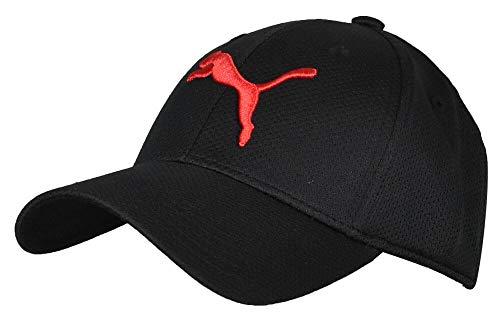 PUMA mens Evercat Mesh Stretch Fit Baseball Cap, Black/Big Red, Small-Medium US