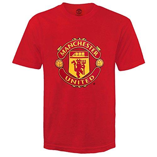 Manchester United FC Kinder T-Shirt mit originalem Logo - 100% Baumwolle - Rot - 10-11 Jahre