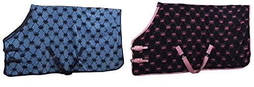 netproshop Plüschige Abschwitzdecke Fleece mit Krönchen für Mini, Shetty, Pony, Groesse:125, Farbe:Rosa