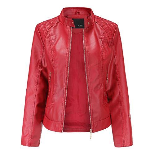 Jaysis Veste en Cuir Uni Noir Rouge Marron Bombers Aviateur Moto Blouson Femme Manteau Simili Cuir Biker Veste Leger Hiver Printemps Automne Zippé Manteaux Chaud Casual Jacket Coat Outwear Pas Cher