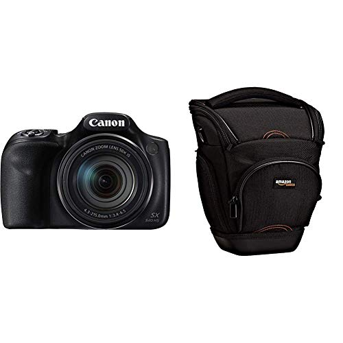 """Canon PowerShot SX540 HS - Cámara Digital de 20.3 MP (Pantalla de 3"""", Zoom óptico de 50x, NFC, WiFi), Negro + Amazon Basics - Funda para cámara de Fotos réflex, Color Negro"""
