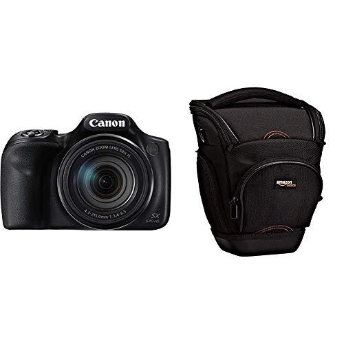 Canon PowerShot SX540 HS - Cmara Digital de 20.3 MP (Pantalla de 3, Zoom ptico de 50x, NFC, WiFi), Negro + AmazonBasics - Funda para cmara de Fotos rflex, Color Negro