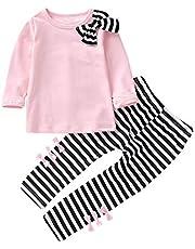 K-youth Ropa Niña Ropa para Bebe Niña de 1 a 6 años Invierno Ropa de Niña a la Moda Barata 2018 Blusas Bowknot Camiseta de Manga Larga Conjunto Niña Pantalon y Top Otoño Fiesta