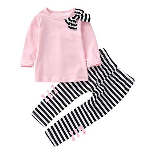 K-youth Ropa Niña Ropa para Bebe Niña de 1 a 6 años Invierno Ropa de Niña a la Moda Barata 2018 Blusas Bowknot Camiseta de Manga Larga Conjunto Niña Pantalon y Top Otoño Fiesta(Rosa, 4-5 años)