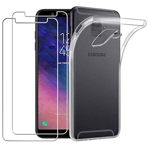 Coque Samsung Galaxy A6 2018 Transparente+[Pack de 2] Verre trempé écran protecteur, Yoowei Ultra Fin Transparente Silicone Gel TPU Etui Coque de Protection Housse Antichoc pour Samsung Galaxy A6 2018