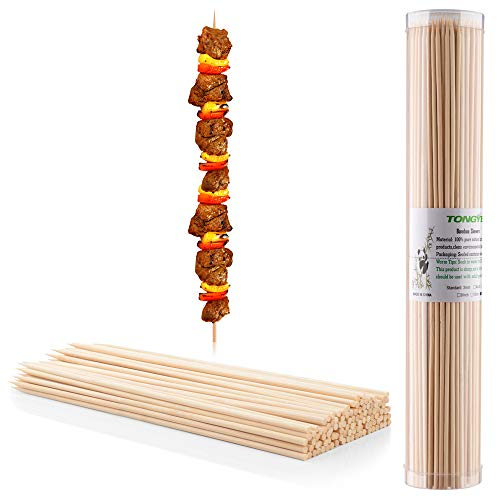 """TONGYE Premium Natural BBQ Bamboo Skewers for Shish Kabob, Grill, Appetizer, Fruit, Corn, Chocolate Fountain, Cocktail and More Food, More Size Choices 4""""/6""""/8""""/10""""/12""""(200 PCS)"""