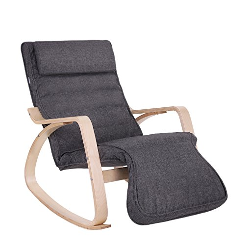 SONGMICS Relax Rocking Chair, Lounge Chair, Recliners Gliders with 5-Way...