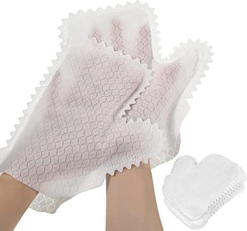 KJSDHAE Guantes de limpieza de escamas de pescado, guantes de microfibra blanca, guantes de eliminación de polvo desechables, toallitas desechables para limpiar -10 piezas