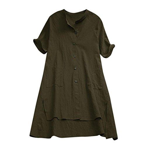 ESAILQ Damen Sommer T-Shirt Casual Streifen Patchwork Kurzarm Oberteil Tops Bluse Shirt(XL,Grün)