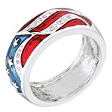 Genuine Rhodium Plated American Flag Enamel Ring with Red and Blue Enamel Size 5