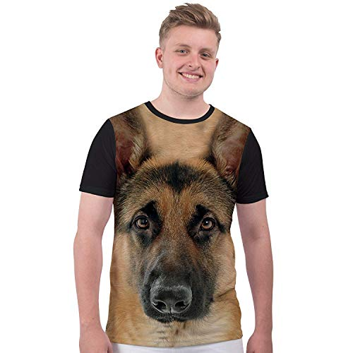 Bang Tidy Clothing Men's Animal Print Dog T Shirt German Shepherd Sublimation T Shirt Graphic Tee White L