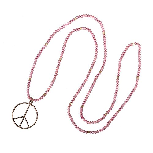 KELITCH Colgante con el Signo de la Paz para Mujer Collares Largos de Cristal Collar con Cuentas de Madera Ovalada