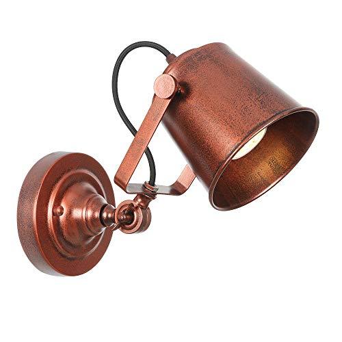 Ganeep industriële wandlamp, vintage, verstelbaar, van metaal, E27, LED, retro, landhuisstijl, wandlamp, voor loft bar café hal