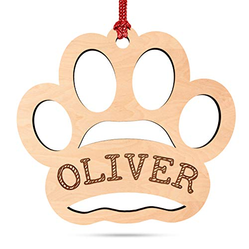 Dog Paw, Personalized Paw Print Dog Ornaments for Christmas Tree w/Pet Name, Custom Laser Engraved 4' Wood, 2020 Xmas Ornament, Christmas Decoration Gift for Dog Owners, Dog Name D#1