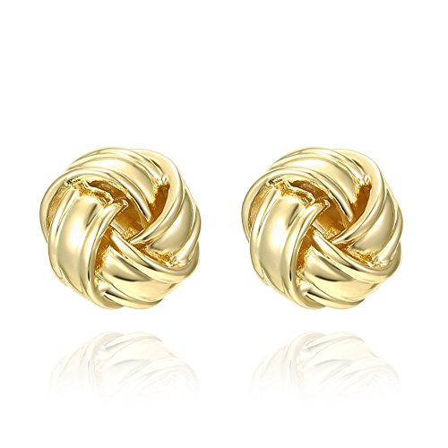 PAVOI 14K Yellow Gold Plated Sterling Silver Post Love Knot Stud Earrings | Gold Earrings for Women