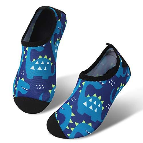JIASUQI Summer Water Skin Schuhe Schnell trockene Aqua Socken für Beach Pool Aerobic Marine Dinosaurier, 32/33 EU