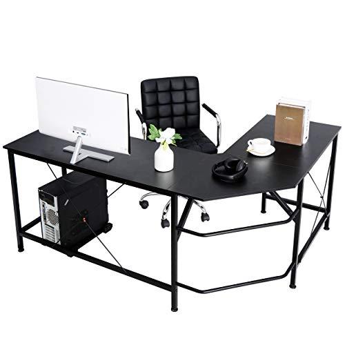 SUPER DEAL L-Shape Corner Computer Desk with CPU Stand Storage Shelf PC Study Table Workstation Gaming Desk w/Foot Rest Bar for Home Office