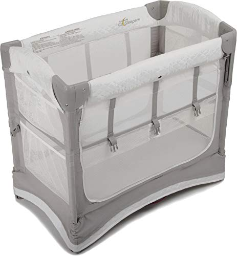 Arm's Reach Mini Ezee 3 in 1 Co-Sleeper Portable Baby Bassinet, Bedside Sleeper, and Play Yard for Newborns and Infants, Foldable for Travel, White and Gray