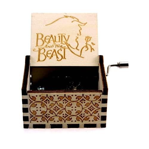 Leisont Queen's Music Box Madera Manivela Music Box Tema Canción Bella y la Bestia.