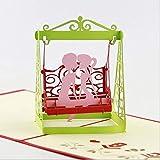bc worldwide ltd fatto a mano 3d pop-up carta dolce amore coppia giardino altalena sedia sede francese paese anniversario di matrimonio, compleanno, regalo di san valentino