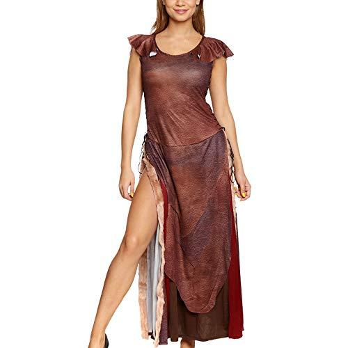 Wild Queen Damen Kostüm Kleid mit Schnürung für Daenerys Fans Elbenwald braun - 32/34