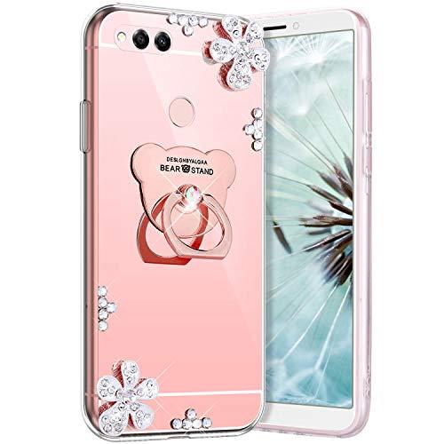 Robinsoni Fodral kompatibelt med Huawei Honor 7X mobilskal flexibelt fodral glitter silikonfodral klart fodral diamant bling fodral björnform 360 graders ring skydd tunn spegel effekt telefonfodral roséguld