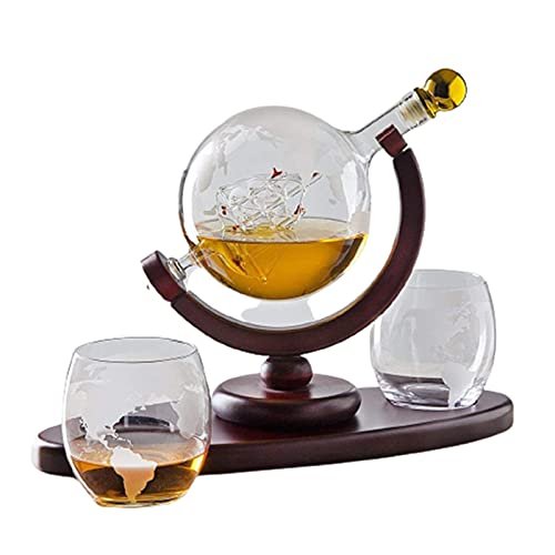 Chunqiu Creative Globe Decantador con bola de vidrio grabado para licor whisky bourbon