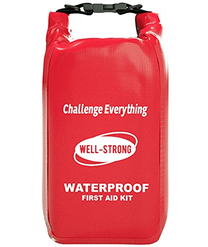 WELL-STRONG Waterproof First Aid Kit Roll Top Boat Emergency Kit with Buckles for Fishing Kayaking...