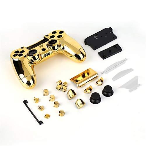 Leoboone Full Housing Shell Hülle Skin Cover Button Set mit Volltasten Mod Kit Ersatz für Playstation 4 PS4 Controller Gold Sliver
