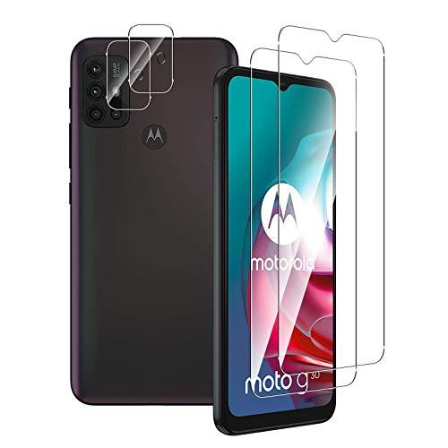 Aerku Panzerglas Bildschirmschutzfolie für Motorola Moto G30 / Moto G10 [2Stück] + Kamera Panzerglas Schutzfolie [2Stück], 9H HD Anti-Kratzer Folie Ultra Glatte Film Bildschirmschutzfolie-Transparent