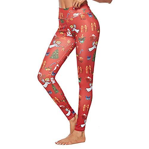 DSCX Leggings Femminili Pantaloni da Yoga Stampa Digitale Leggings Sportivi da Allenamento all'aperto Elasticizzati Indossando Ogni Giorno Rosso S