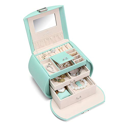 Vlando Faux Leather Mirrored Jewelry Box Organizers for Necklace Earrings Rings Storage Case (Mint Green)