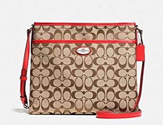 Coach Signature Stripe 12CM File Cross-body Bag in Khaki Cardinal F36378