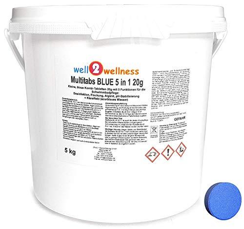 well2wellness Chlor Multitabs Blue 5 in 1 20g / kleine Blaue Multitabs 5 in 1 a 20g - 5,0 kg