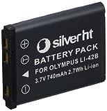 Silver HT 40042 - Batería de cámaras de fotos para LI-42B Olympus de 740 mAh, color blanco