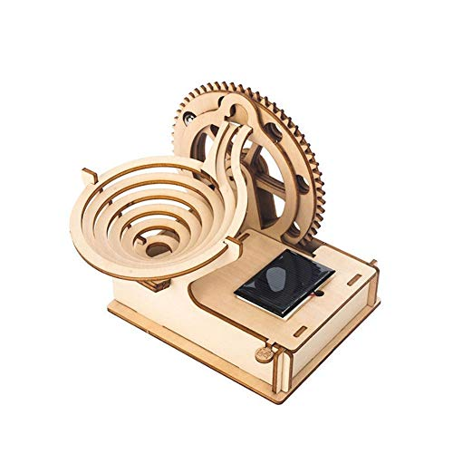 Khosd 3D Wooden Puzzle, DIY Wooden Solar Track Rolling Ball Assembly Puzzle Model Kit, Laser-cut Mechanical Model Construction Kit Ideal Birthday for Adults and Teens