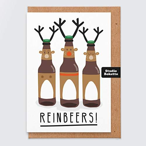 Lustige Weihnachtskarte - Reinbeers - Bier Weihnachtskarte - trinken Weihnachtskarte - Rentiere - Weihnachtskarte Wortspiel - Witz - Humor - für ihn - für sie - Freund - Ehemann - Freund