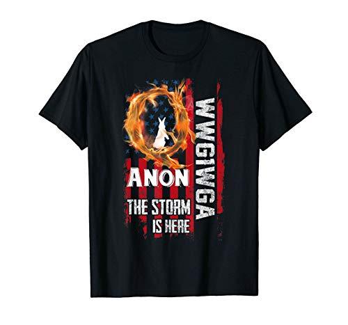ouy Black Qanon T Shirt Wwg1Wga Q Anon The Storm Is Here Patriotic 100% Cotton