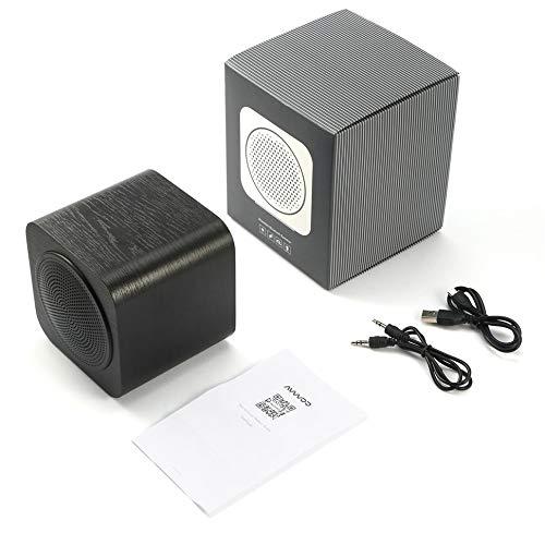 Houten luidspreker met FM-radio en MP3-speler voor draagbare draadloze apparaten.