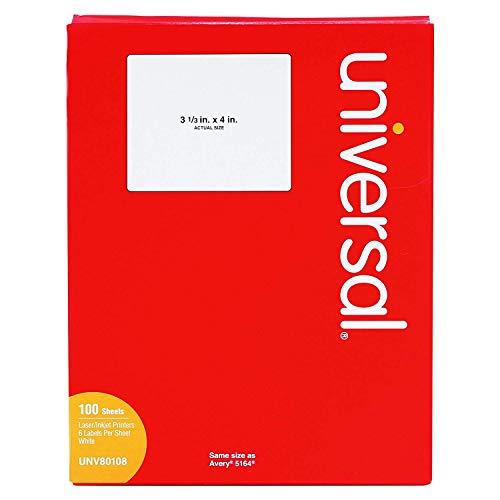 Universal Laser Printer Permanent Labels, 3 1/3