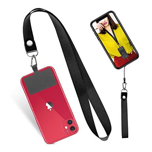 携帯ストラップ ハンドストラップ 首掛けストラップ カラビナリング パッチ付き 汎用多機能 着脱簡単 落下防止 スマホ 鍵 USBメモリ IDケースなど適用 2本入り 黒