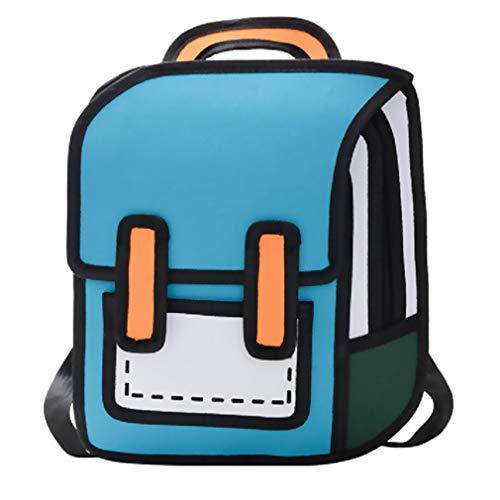 FFZW Estudiantes De La Escuela Primaria 3D Estéreo De Dibujos Animados Niños Y Niñas Mochila Mochila Ocasional Cómica,Azul