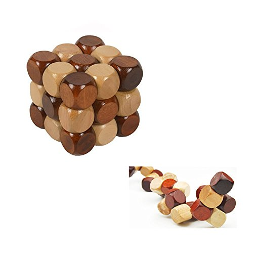 SFTRANS Puzzle Toys, Wood Brain Teaser with Kongming Lock 3D Snake Cube Puzzles, Best Gift for Child/Adults, Birthdays, Valentine