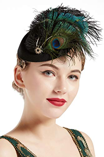 BABEYOND 1920s Flapper Fascinator Feather Pillbox Hat Fascinator for Tea Party (Peacock-3)
