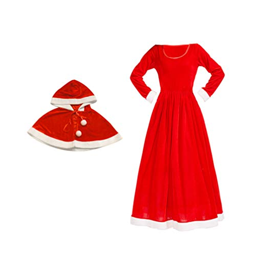 SOIMISS 1 Set Christmas Santa Cape Woman Claus Santa Costume with Santa Cape Scarf Santa Cosplay Dress for Party Cosplay Woman Red S - Red - S