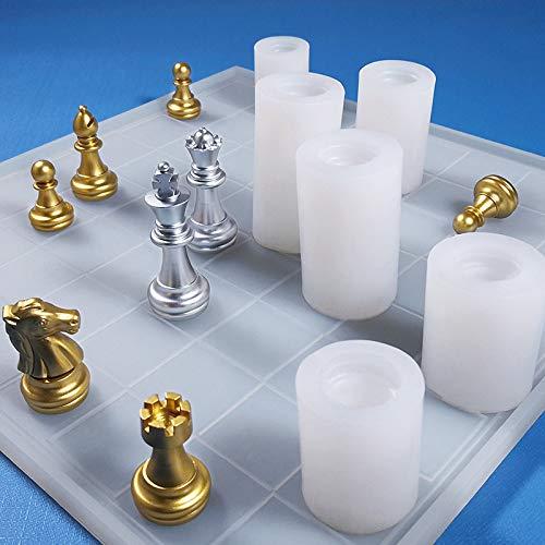 Moldes de resina de silicona para ajedrez, moldes de ajedrez de resina epoxi, 6 piezas de ajedrez molde de silicona + tablero de ajedrez, plantillas de resina para manualidades hechas a mano