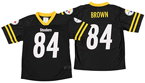 Outerstuff Pittsburgh Steelers Antonio Brown #84 NFL Boys Youth (4-18) Team Color Jersey, Black (X-Large 14-16)