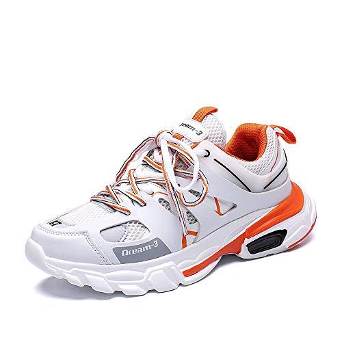 Chaussures de Course Dad Shoes Trois générations de Chaussures de Sport pour Hommes à la Mode Chaussures de marée Sauvage Chaussures pour Hommes Printemps-Blanc Orange_40